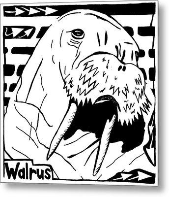Walrus Maze Metal Print by Yonatan Frimer Maze Artist