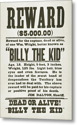 Wanted Poster For Billy The Kid Metal Print by Everett