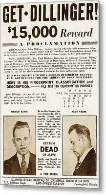 Wanted Poster For John Dillinger Metal Print by Everett