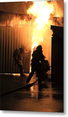 Warehouse Fire Metal Print by Cary Ulrich