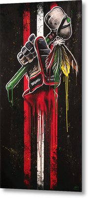 Warrior Glove On Black Metal Print by Michael Figueroa