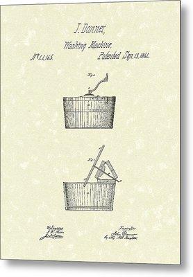 Washing Machine 1861 Patent Art Metal Print by Prior Art Design