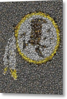 Washington Redskins Coins Mosaic Metal Print by Paul Van Scott