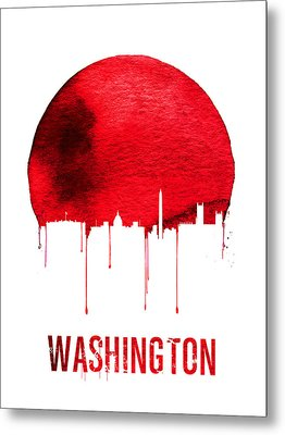 Washington Skyline Red Metal Print by Naxart Studio