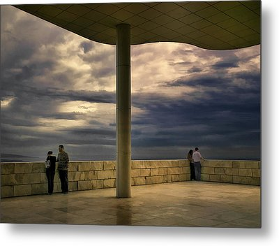Watching The Storm At The Getty Metal Print by Lynn Andrews