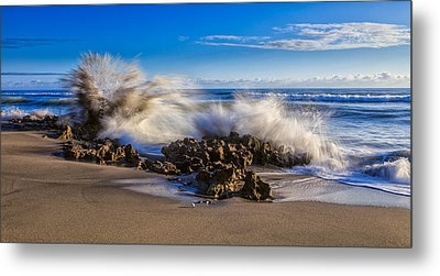 Water And Earth Collide Metal Print by Andres Leon
