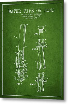 Water Pipe Or Bong Patent 1975 - Green Metal Print by Aged Pixel
