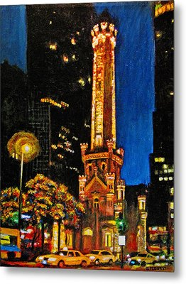 Water Tower At Night Metal Print by Michael Durst