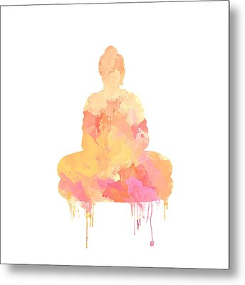 Watercolor Buddha Art Metal Print by Anita Mihalyi