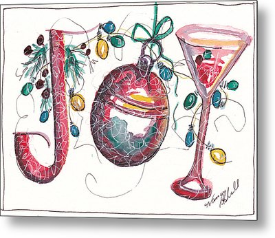 Watercolor Christmas Notecard Metal Print by Michele Hollister - for Nancy Asbell