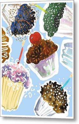 Watercolor Cupcakes With Sprinkles Metal Print by Gillham Studios