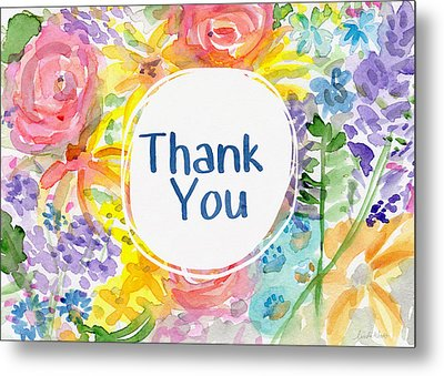 Watercolor Garden Thank You- Art By Linda Woods Metal Print by Linda Woods