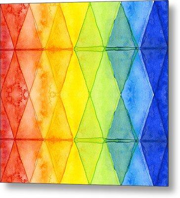 Watercolor Rainbow Pattern Geometric Shapes Triangles Metal Print by Olga Shvartsur