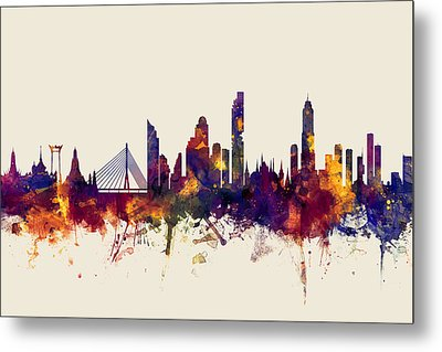 watercolour, watercolor, urban,  Bangkok, Bangkok skyline, bangkok cityscape, city skyline, thailand Metal Print by Michael Tompsett
