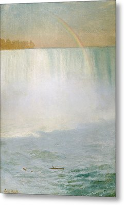 Waterfall And Rainbow At Niagara Falls Metal Print by Albert Bierstadt