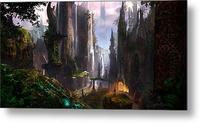 Waterfall Celtic Ruins Metal Print by Alex Ruiz