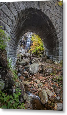 Waterfall In Acadia Metal Print by Jon Glaser