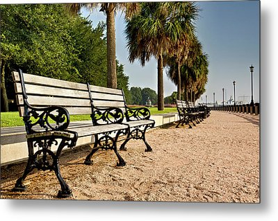 Waterfront Park Bench  Metal Print by Drew Castelhano
