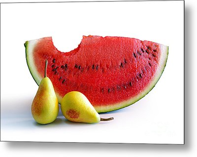 Watermelon And Pears Metal Print by Carlos Caetano