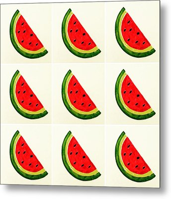 Watermelon Emoji Metal Print by Busra Menekse