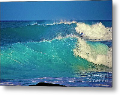 Waves And Surfer In Morning Light Metal Print by Bette Phelan