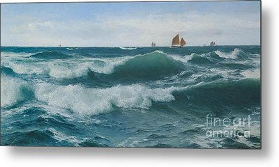 Waves Breaking In Shallow Waters Metal Print by Celestial Images