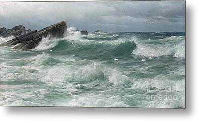 Waves Breaking On A Rocky Coast Metal Print by Celestial Images