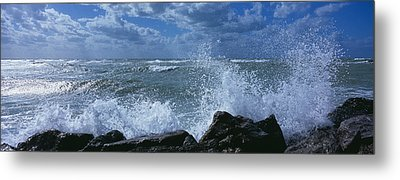 Waves Breaking On Rocks, Gulf Of Metal Print by Panoramic Images