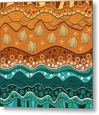 Waves Metal Print by Veronica Kusjen