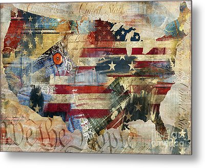 We The People Map America Metal Print by Mindy Sommers