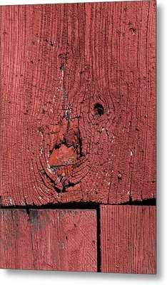 Weathered Red Barn Wood  Metal Print by David Letts