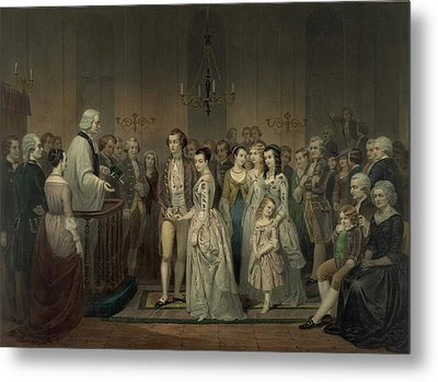 Wedding Of George Washington And Martha Metal Print by Everett