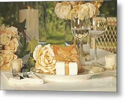 Wedding Party Favors On Plate At Reception Metal Print by Sandra Cunningham