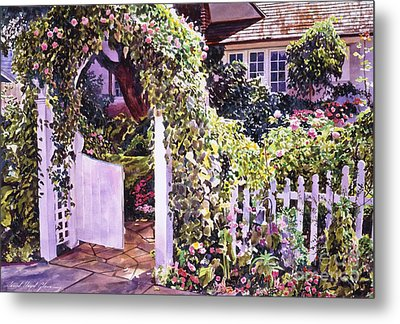 Welcome Rose Covered Gate Metal Print by David Lloyd Glover