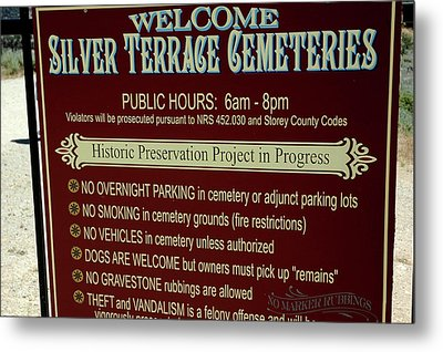 Welcome Silver Terrace Cemeteries Metal Print by LeeAnn McLaneGoetz McLaneGoetzStudioLLCcom