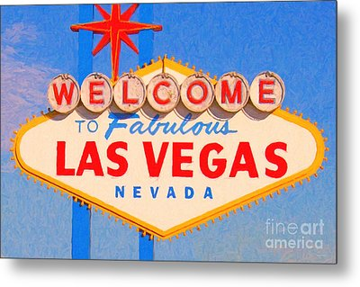 Welcome To Fabulous Las Vegas Nevada Metal Print by Wingsdomain Art and Photography