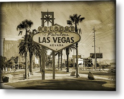 Welcome To Las Vegas Series Sepia Grunge Metal Print by Ricky Barnard