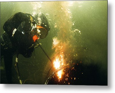 Welding Underwater Metal Print by Peter Scoones