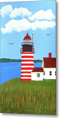 West Quoddy Head Lighthouse Painting Metal Print by Frederic Kohli