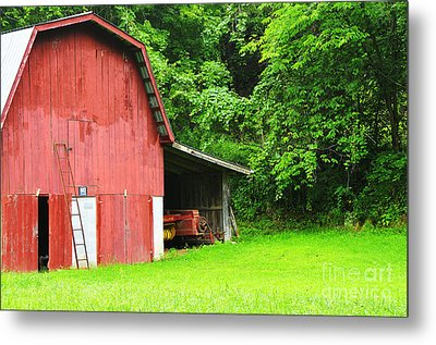 West Virginia Barn And Baler Metal Print by Thomas R Fletcher