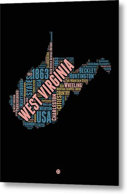West Virginia Word Cloud Map 1 Metal Print by Naxart Studio
