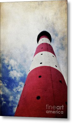 Westerhever Lighthouse Vintage Metal Print by Angela Doelling AD DESIGN Photo and PhotoArt