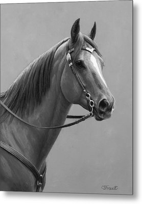 Western Quarter Horse Black And White Metal Print by Crista Forest