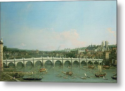 Westminster Bridge From The North With Lambeth Palace In Distance Metal Print by Canaletto