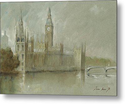 Westminster Palace And Big Ben London Metal Print by Juan Bosco