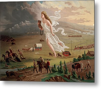 Westward Ho Allegorical Female Figure Metal Print by Everett