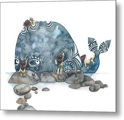 Whale Art Metal Print by Soosh