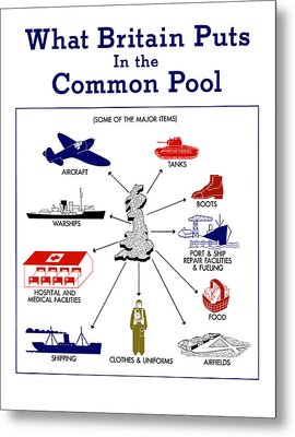What Britain Puts In The Common Pool Metal Print by War Is Hell Store