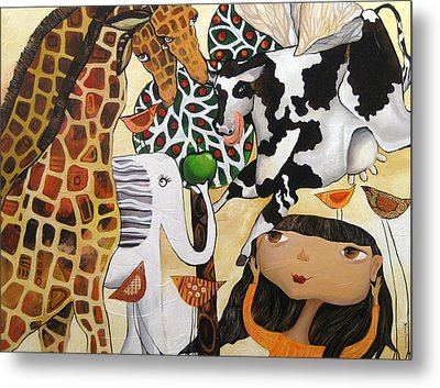 When Giraffes Were Big Metal Print by Yelena Revis
