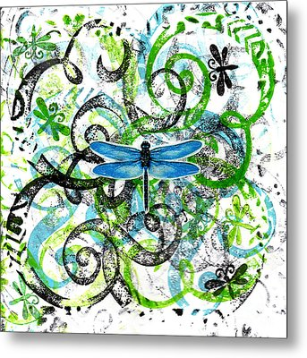 Whimsical Dragonflies Metal Print by Genevieve Esson